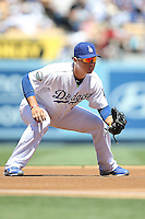 08/26/12 Los Angeles, CA: Los Angeles Dodgers third baseman Luis Cruz #47 during an MLB game played between the Los Angeles Dodgers and the Miami Marlins at Dodger Stadium. The Marlins Defeated the Dodgers 6-2