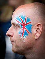 Spectator with Union Jack face paint during the Muller Grand Prix Birmingham Athletics at Alexandra Stadium, Birmingham, England on 20 August 2017. Photo by Andy Rowland.