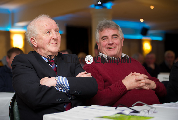 Munster Council chairman Robert Frost and Clare GAA assistant treasurer Gerry Lynch at the Clare GAA county convention at The Auburn Lodge hotel in Ennis. Photograph by John Kelly.