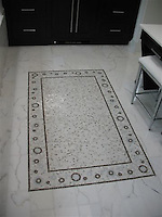 Heavenly Bodies, custome natural stone mosaic rug in Calacatta Tia, Montevideo and Celeste.