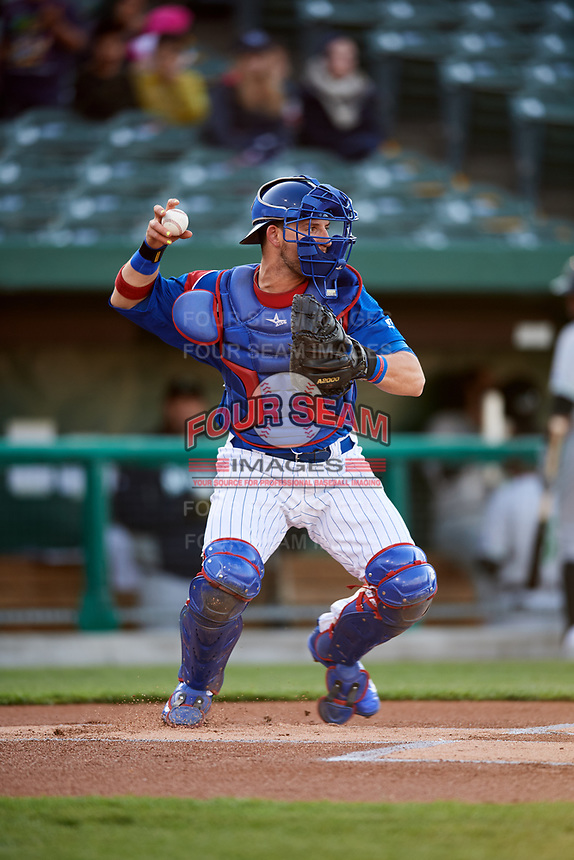 South Bend Cubs catcher Alberto Mineo (47) during a game against the Clinton LumberKings on May 5, 2017 at Four Winds Field in South Bend, Indiana.  South Bend defeated Clinton 7-6 in nineteen innings.  (Mike Janes/Four Seam Images)