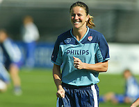 Brandi Chastain laughs during warm ups before a 0-0 tie with Japan in San Diego, Calif.,  January 12, 2003.