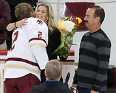 Stacy Savage, Scott Savage (BC - 2), Brian Savage - The visiting University of Vermont Catamounts tied the Boston College Eagles 2-2 on Saturday, February 18, 2017, Boston College's senior night at Kelley Rink in Conte Forum in Chestnut Hill, Massachusetts.Vermont and BC tied 2-2 on Saturday, February 18, 2017, Boston College's senior night at Kelley Rink in Conte Forum in Chestnut Hill, Massachusetts.