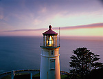 Lane County, OR      <br /> Sunset light on Heceta Head lighthouse located on the central Oregon coast