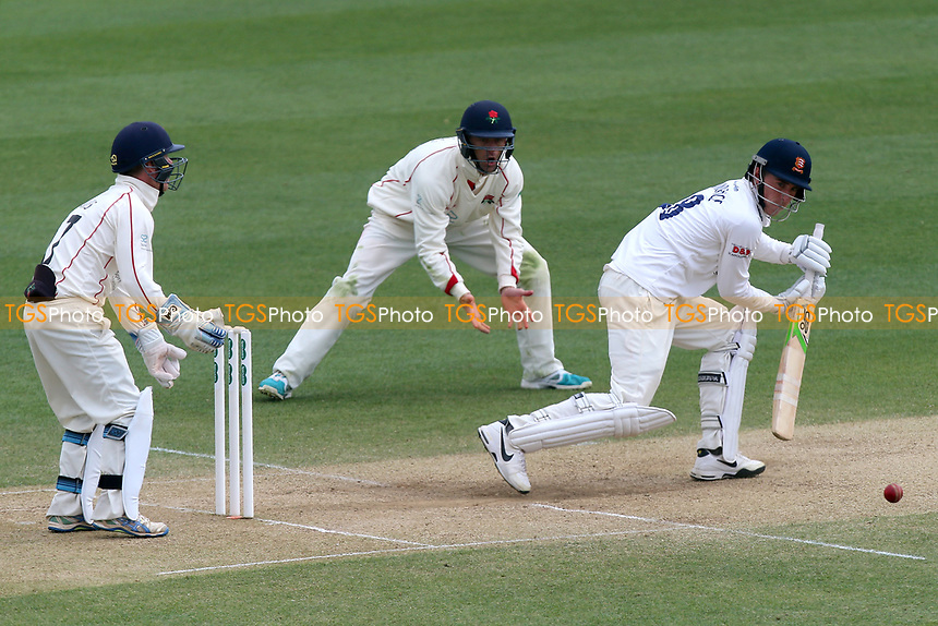 Daniel Lawrence in batting action for Essex as Alex Davies looks on from behind the stumps during Essex CCC vs Lancashire CCC, Specsavers County Championship Division 1 Cricket at The Cloudfm County Ground on 10th April 2017