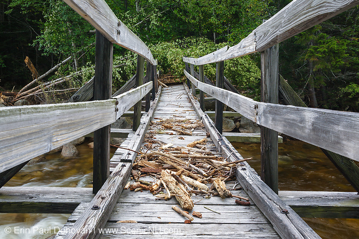 The decking of the Thoreau Falls Trail bridge was covered in storm debris days after Tropical Storm Irene in 2011. This bridge is located in the Pemigewasset Wilderness of New Hampshire, and crosses the East Branch of the Pemi.