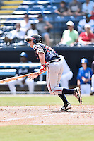 Rome Braves catcher Lucas Herbert (14) swings at a pitch during a game against the Asheville Tourists at McCormick Field on August 21, 2016 in Asheville, North Carolina. The Braves defeated the Tourists 4-2. (Tony Farlow/Four Seam Images)