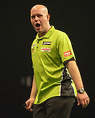 09.04.2015. Sheffield, England. Betway Premier League Darts. Matchday 10.  Michael van Gerwen [NED] celebrates a finish against Stephen Bunting [ENG]