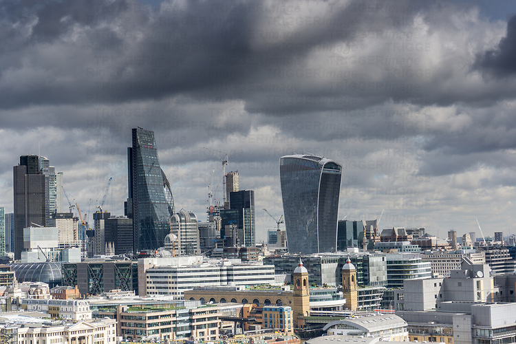 Highrise view of London in England