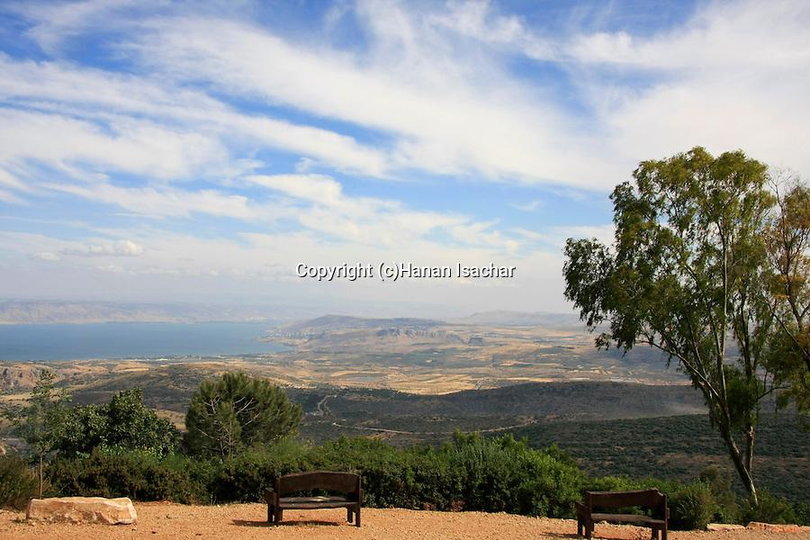 Israel, Upper Galilee, a view of the Sea of Galilee from Mitzpe Menahem in Moshav Amirim