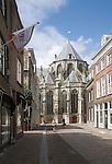View from Grotekerksbuurt street Grote Kerk, cathedral church, Dordrecht, Netherlands