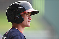 Shortstop Marcus Mooney (2) of the Rome Braves waits in the on deck circle in game one of a doubleheader against the Greenville Drive on Tuesday, May 30, 2017, at Fluor Field at the West End in Greenville, South Carolina. Rome won, 10-7. (Tom Priddy/Four Seam Images)