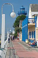 Marina Del Rey, CA,  Fisherman's Village, Replica Lighthouse, main channel, Sailboats motorboats, yachts, Los Angeles, California, boat harbor, Marina, Brick Walkway, Concrete and Masonary