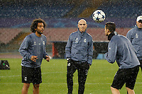 Marcelo  and Cristiano Ronaldo   during training session  at eve  the Champions League Group  soccer match between SSC Napoli and Real Madrid   at the San Paolo  Stadium inNaples March 06, 2017