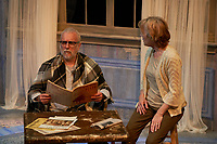 """A Tree, Falling"" directed by Michael Dorsey and played by Jerry Vogel and Kari Ely, presented by Upstream Theater at Kranzberg Arts Center in St. Louis, Missouri on April 12, 2018."
