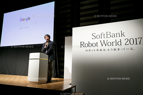 Shinichi Abe, Managing Director at Google Cloud Japan G.K. speaks during a news conference for SoftBank Robot World 2017 on November 21, 2017, Tokyo, Japan. SoftBank Robotics organized SoftBank Robot World 2017 to introduce AI (Artificial Intelligence) and IoT (the Internet of Things) companies developing the latest technology for robots, including applications its humanoid robot Pepper in various business fields. The robot expo runs until November 22. (Photo by Rodrigo Reyes Marin/AFLO)
