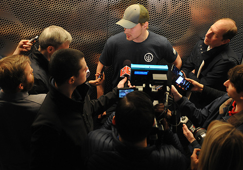 Scott Mayfield speaks with the media after New York Islanders player exit interviews at Northwell Health Ice Center in East Meadow on Sunday, April 8, 2018.