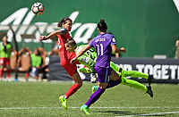 Portland, OR - Saturday April 15, 2017: Christine Sinclair, Ashlyn Harris, Ali Krieger during a regular season National Women's Soccer League (NWSL) match between the Portland Thorns FC and the Orlando Pride at Providence Park.