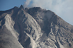 Andesite lava dome at summit of Sinabung Volcano, Sumatra, Indonesia