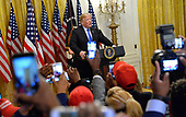 United States President Donald J. Trump arrives to make remarks before the 2018 Young Black Leadership Summit in the East Room of the White House, Washington, DC, October 26, 2018.   <br /> Credit: Mike Theiler / CNP