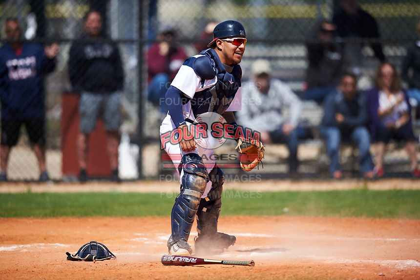 FDU-Florham Devils catcher Diego Espinosa (31) during the first game of a doubleheader against the Farmingdale State Rams on March 15, 2017 at Lake Myrtle Park in Auburndale, Florida.  Farmingdale defeated FDU-Florham 6-3.  (Mike Janes/Four Seam Images)