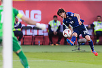 Ito Junya of Japan (R) attempts to score during the AFC Asian Cup UAE 2019 Group F match between Japan (JPN) and Uzbekistan (UZB) at Khalifa Bin Zayed Stadium on 17 January 2019 in Al Ain, United Arab Emirates. Photo by Marcio Rodrigo Machado / Power Sport Images