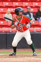 Joseph Bonadonna #1 of the Greensboro Grasshoppers squares to bunt against the Hickory Crawdads at L.P. Frans Stadium on May 18, 2011 in Hickory, North Carolina.   Photo by Brian Westerholt / Four Seam Images