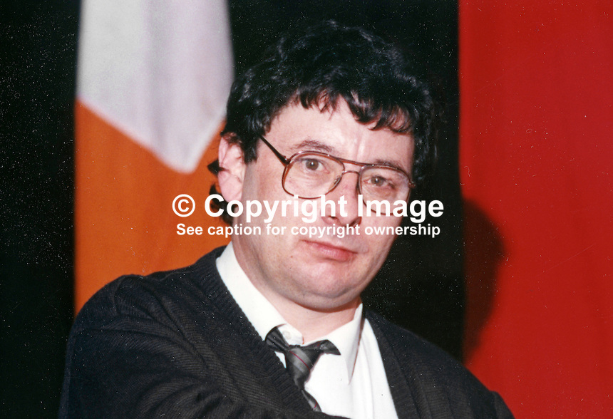 Joe Reilly, prominent member, Provisional Sinn Fein, Ard Fheis, Dublin, January 1990, 19900102JOR<br /> <br /> Copyright Image from Victor Patterson, 54 Dorchester Park, Belfast, UK, BT9 6RJ<br /> <br /> t1: +44 28 9066 1296 (from Rep of Ireland 048 9066 1296)<br /> t2: +44 28 9002 2446 (from Rep of Ireland 048 9002 2446)<br /> m: +44 7802 353836<br /> <br /> e1: victorpatterson@me.com<br /> e2: victorpatterson@gmail.com<br /> <br /> The use of my copyright images is subject to my Terms &amp; Conditions.<br /> <br /> It is IMPORTANT that you familiarise yourself with them. They are available on my website at www.victorpatterson.com.<br /> <br /> None of my copyright images may be used on a website unless they are visibly watermarked, i.e. &copy; Victor Patterson within the body of the visible image. Metadata denoting my copyright must NOT be deleted. Maximum online size is 300 kbs. Web use is extra at currently recommended NUJ rates.
