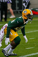 Green Bay Packers cornerback Josh Hawkins (28) during an Organized Team Activity on May 23, 2017 at Clarke Hinkle Field in Green Bay, Wisconsin.  (Brad Krause/Krause Sports Photography)