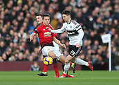 9th February 2019, Craven Cottage, London, England; EPL Premier League football, Fulham versus Manchester United; Luciano Vietto of Fulham runs past Ander Herrera of Manchester United