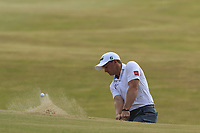 Paul Dunne (IRL) chips from a bunker at the 15th green during Friday's Round 2 of the 2018 Dubai Duty Free Irish Open, held at Ballyliffin Golf Club, Ireland. 6th July 2018.<br /> Picture: Eoin Clarke | Golffile<br /> <br /> <br /> All photos usage must carry mandatory copyright credit (&copy; Golffile | Eoin Clarke)