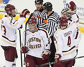 Patrick Brown (BC - 23), Quinn Smith (BC - 27), Teddy Doherty (BC - 4), Thatcher Demko (BC - 30) - The Boston College Eagles defeated the visiting St. Francis Xavier University X-Men 8-2 in an exhibition game on Sunday, October 6, 2013, at Kelley Rink in Conte Forum in Chestnut Hill, Massachusetts.