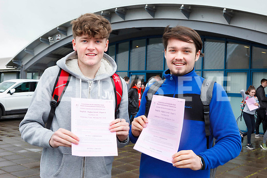 NOT TOO BAD: D&aacute;ire &Oacute; Nuallain and Adam Bohan pictured at Mercy Mounthawk Secondary School on Wednesday afternoon happy that they're over their <br /> exam Higher level English Paper 1.
