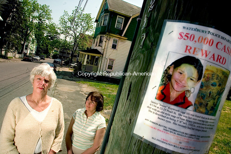 WATERBURY, CT--31 MAY 2006 -053106JS12-Lisa Keyworth, left, who's grand-daughter Jessica 'Jessie' Keyworth was found murdered in a home on Pearl Street in Waterbury in June 2004, has formed a friendship with Janice Smolinsky, right, the mother of Billy Smolinski who disappeared over a year ago.    -- Jim Shannon Republican-American
