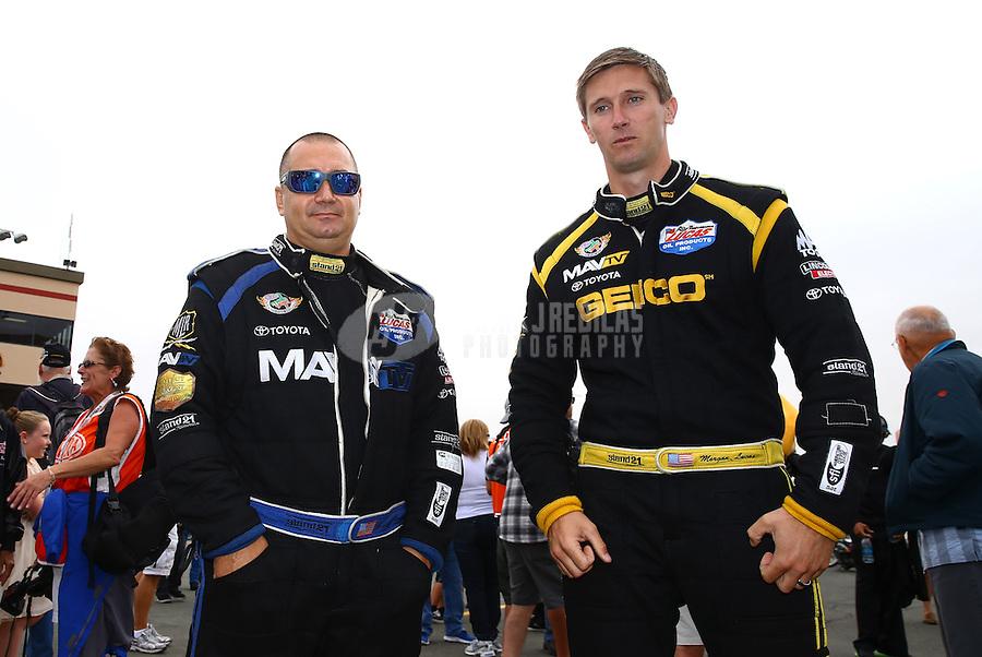Jul. 28, 2013; Sonoma, CA, USA: NHRA top fuel dragster driver Brandon Bernstein (left) with Morgan Lucas during the Sonoma Nationals at Sonoma Raceway. Mandatory Credit: Mark J. Rebilas-