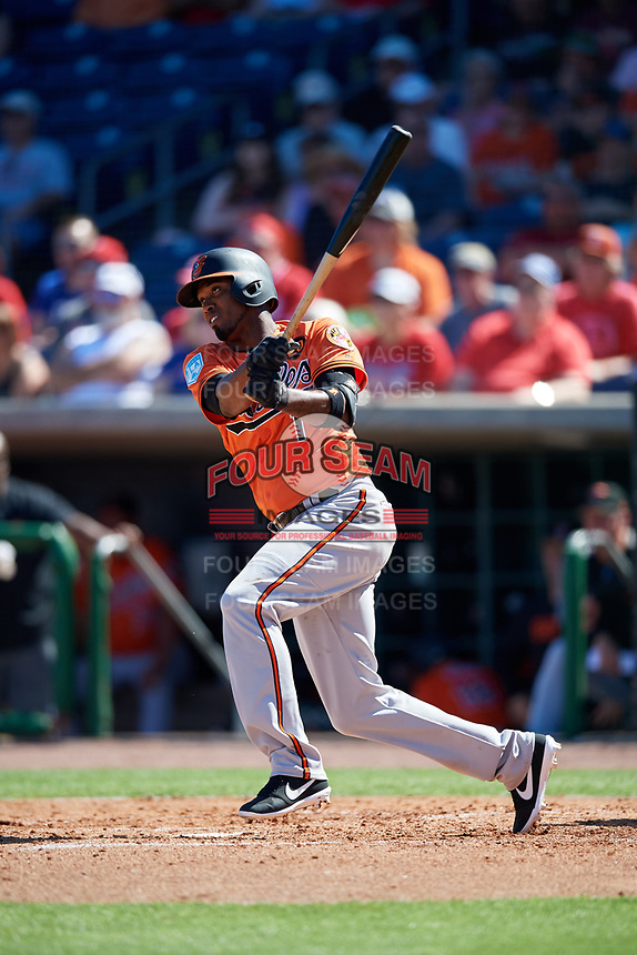 Baltimore Orioles shortstop Alcides Escobar (1) follows through on a swing during a Grapefruit League Spring Training game against the Philadelphia Phillies on February 28, 2019 at Spectrum Field in Clearwater, Florida.  Orioles tied the Phillies 5-5.  (Mike Janes/Four Seam Images)