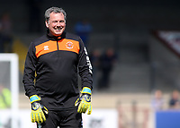 Blackpool goalkeeping coach Dave Timmins during the pre-match warm-up <br /> <br /> Photographer David Shipman/CameraSport<br /> <br /> The EFL Sky Bet League One - Scunthorpe United v Blackpool - Friday 19th April 2019 - Glanford Park - Scunthorpe<br /> <br /> World Copyright © 2019 CameraSport. All rights reserved. 43 Linden Ave. Countesthorpe. Leicester. England. LE8 5PG - Tel: +44 (0) 116 277 4147 - admin@camerasport.com - www.camerasport.com