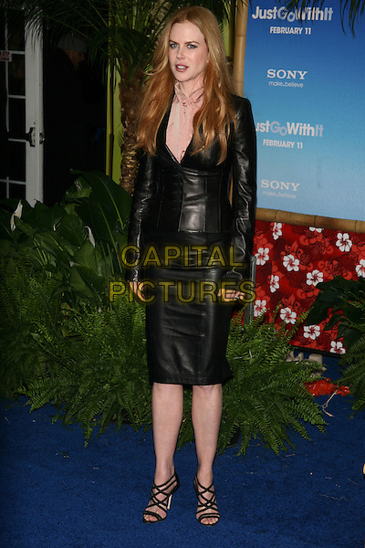 "NICOLE KIDMAN.The New York Premiere of ""Just Go With It"" at the Ziegfeld Theater, New York, NY, USA..February 8th, 2011.full length black leather pink beige pussybow blouse jacket buttons skirt strappy sandals .CAP/LNC/TOM.©TOM/LNC/Capital Pictures."