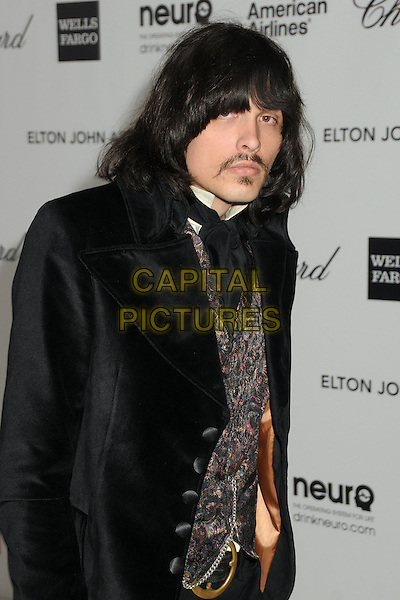 J.D. King.20th Annual Elton John Academy Awards Viewing Party held at West Hollywood Park, West Hollywood, California, USA..February 26th, 2012.half length black velvet jacket moustache mustache facial hair .CAP/ADM/BP.©Byron Purvis/AdMedia/Capital Pictures.