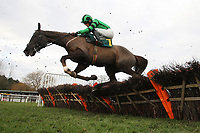 Ballycassel ridden by Sam Twiston-Davies in jumping action during the Betfair Funds PJA Doctor National Hunt Maiden Hurdle - Horse Racing at Fakenham Racecourse, Norfolk.