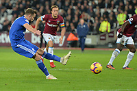 Joe Ralls Of Cardiff City FC misses a penalty  during West Ham United vs Cardiff City, Premier League Football at The London Stadium on 4th December 2018