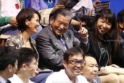 (L-R)<br /> Yuko Arimori,<br /> Saburo Kawabuchi,<br /> Yoriko Okamoto,<br /> MAY 25, 2015 - Basketball : <br /> National Basketball League &quot;NBL&quot; Playoff FINALS 2014-2015 <br /> GAME 3 match between <br /> TOYOTA ALVARK TOKYO 69-81 AISIN SeaHorses Mikawa<br /> at 2nd Yoyogi Gymnasium, Tokyo, Japan. <br /> (Photo by Shingo Ito/AFLO SPORT)