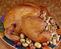 Whole Turkey with Stuffing and Potato