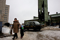 A woman and a boy walk in a housing estate in Dzherjinsk, one of the world's most polluted cities in Russia. The city, named after founding KGB chief Felix Dzherjinski, at the heart of the former Soviet Union's chemical weapons production. It is 400 KM east of Moscow and is home to a population of 300,000.
