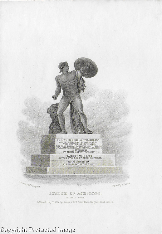 Nineteenth century engraving from 1827, Statue of Achilles, Hyde Park , London, England, UK drawn by Thomas Shepherd