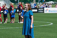 Kansas City, MO - Saturday May 13, 2017: The national anthem singer prior to a regular season National Women's Soccer League (NWSL) match between FC Kansas City and the Portland Thorns FC at Children's Mercy Victory Field.