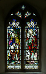 Victorian 19th century stained glass window, Claydon church, Suffolk, England, UK c 1912 A L Moore