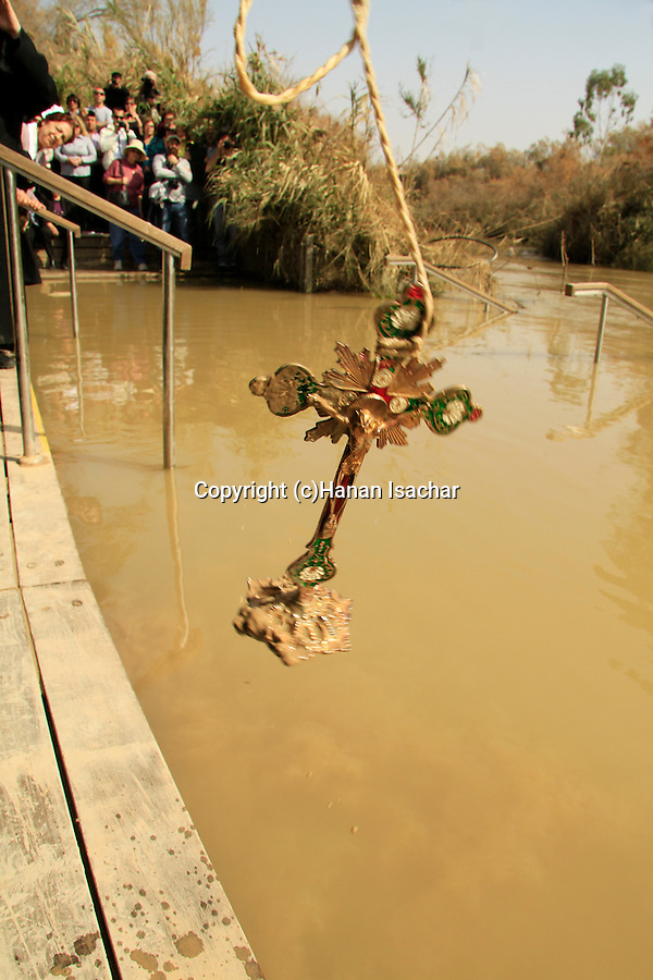 Qasr al Yahud in Jericho plains, the Armenian Orthodox Church celebrate the Feast of the Baptism of the Lord at the Jordan River, the Cross is thrown to the water