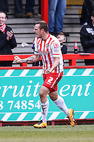 Luke Wilkinson of Stevenage celebrates scoring his second goal of the game Anderson Silva  to make it 2-0 during the Sky Bet League 2 match between Stevenage and Northampton Town at the Lamex Stadium, Stevenage, England on 19 March 2016. Photo by David Horn / PRiME Media Images.