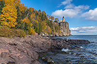 Split Rock Lighthouse State Park, MN  <br /> Split Rock Lighthouse stands above Lake Superior in early fall